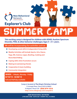Summer Camp - New Behavioral Network