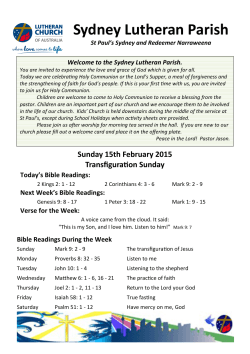 View Bulletin - Redeemer Lutheran Church Narraweena