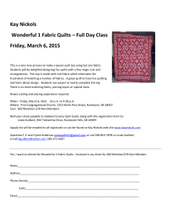 Kay Nickols Wonderful 1 Fabric Quilts – Full Day Class Friday