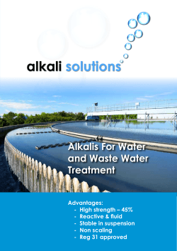Alkalis For Water and Waste Water Treatment