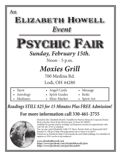 Psychic Fair - Rev. Elizabeth Howell CHt.
