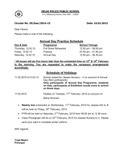 Annual Day Practice Schedule Schedule of Holidays