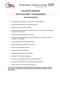 Office Volunteer – Pain Management