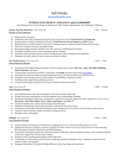 Resume - Jeff Mielke