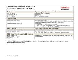 Oracle Secure Backup (OSB) 12.1.0.1 Supported Platforms and