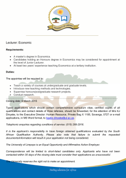 Lecturer: Economic - University of Limpopo