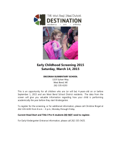 Early Childhood Screening - West Bend School District