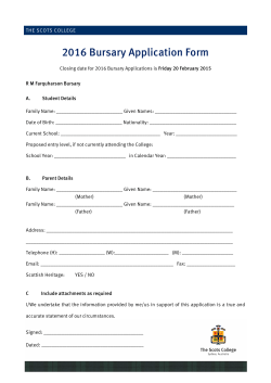2016 Bursary Application Form