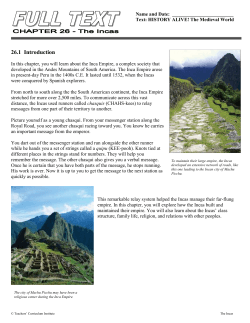 Chapter 26 - The Incas FULL TEXT with Pictures