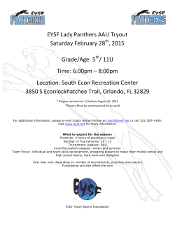 EYSF Lady Panthers AAU Tryout Saturday February 28 , 2015