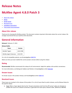 McAfee Agent 4.8.0 Patch 3 Release Notes
