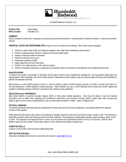 Utility Skilled Work Location - Mendocino Redwood Company and
