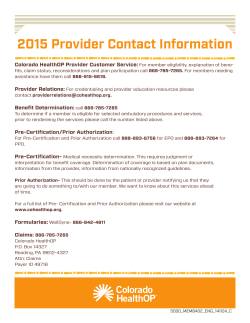 2015 Provider Contact Information