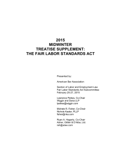 2015 midwinter treatise supplement: the fair labor standards act