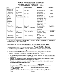 FEE STRUCTURE FOR 2015 - 2016 - Pawar Public School Kandivali