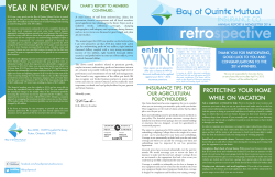 2014 Annual Newsletter - Bay of Quinte Mutual Insurance