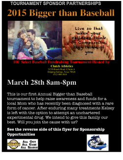 Bigger Than Baseball Charity Tournament Flyer
