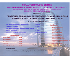 National Seminar on Recent Development in Building Materials and