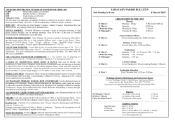 LIMAVADY PARISH BULLETIN 2nd Sunday in Lent 1 March 2015