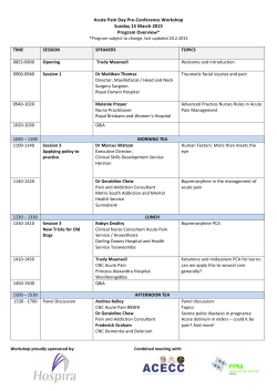 Acute Pain Day Pre-‐Conference Workshop