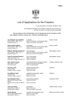 List of applicants for the Freedom of the City: PDF 231 KB