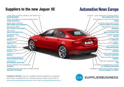 Suppliers to the new Jaguar XESuppliers to the