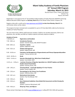 Miami Valley Academy of Family Physicians 21 Annual CME