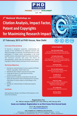 Citation Analysis, Impact Factor, Patent and Copyrights for