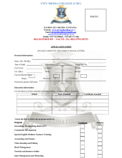Application Form - City Media College Certificate in