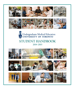 student handbook - University of Toronto Undergraduate Medical