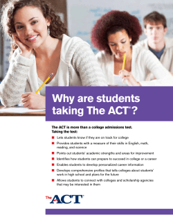 Why Are Students Taking the ACT?