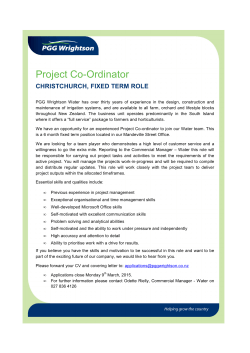Water Project Co-ordinator March 15