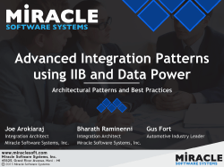 Advanced Integration Patterns using IIB and Data Power
