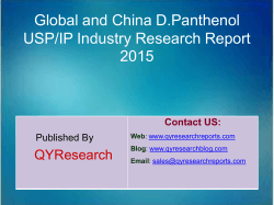 Global and China D.Panthenol USP/IP Industry