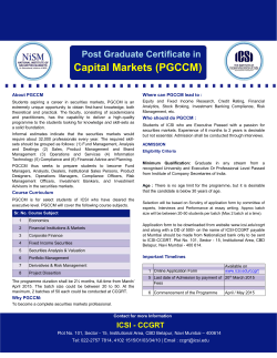 Post Graduate Certificate in Capital Markets (PGCCM)