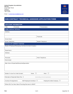 F002 Sub-Contract Technical Assessor Application Form
