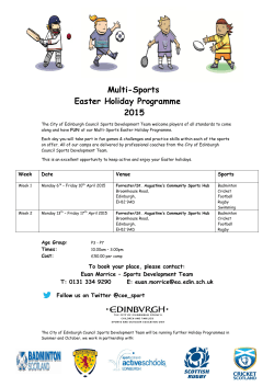 Multi-Sports Easter Holiday Programme 2015
