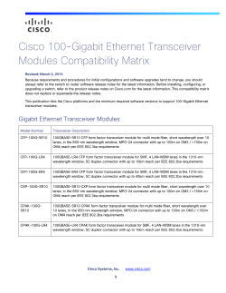 Cisco 100-Gigabit Transceiver Modules Compatibility Matrix