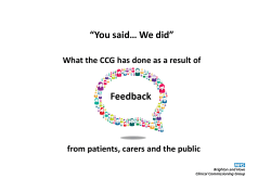 """You said… We did"" - Brighton & Hove NHS Clinical Commissioning"