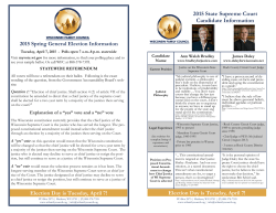Voter Guide Spring 2015 - Wisconsin Family Council