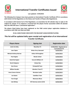 International Transfer Certificates Issued