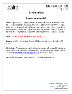 Oregon Innovation Cafe Save the Date: June 8 at 3 pm