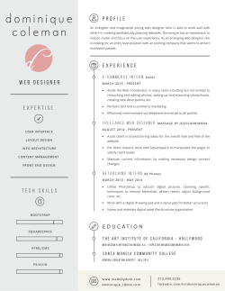 my resume - dominique coleman