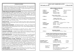 LIMAVADY PARISH BULLETIN 5th Sunday in Lent 22 March 2015
