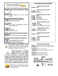 activities for the week - Nativity of Our Lord Roman Catholic Church