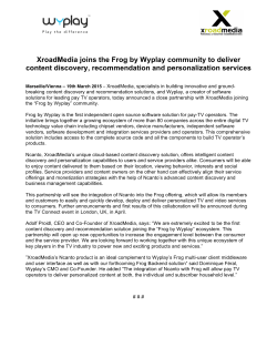 XroadMedia joins the Frog by Wyplay community to deliver content