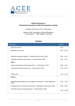 Tariff workshop agenda 24 March 2015