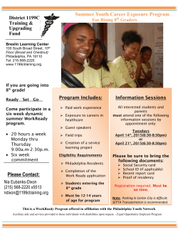 Summer Youth Career Exposure Program Please Contact: