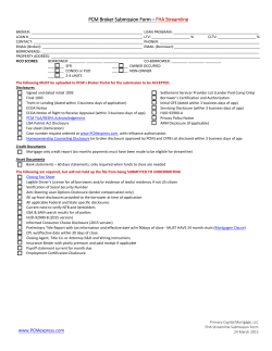 PCM Broker Submission Form ��� FHA Streamline