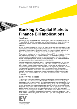 Finance Bill 2015: Banking and Capital Markets